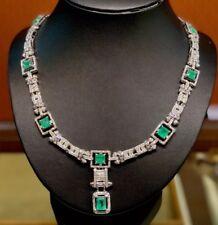 COLOMBIAN! 23.21TCW Emerald VS diamond 18K white gold Necklace Natural ART DECO