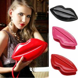 Woman Sexy Handbag Clutch Shouder bag  Patent Leather Lip Shape Evening Party