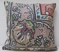 24''x24'' Vintage Handmade Floral Kilim Pillow Cover, Extra Large Cushion Case