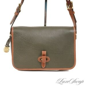 ICONIC Dooney & Bourke Made in USA Green Tumbled All Weather Leather Flap Bag NR