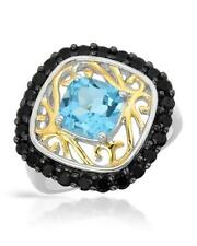 Ring Jewelry Blue Topez 2.20ctw Onyx Sterling Silver Two-Tone Gold $330 Retail