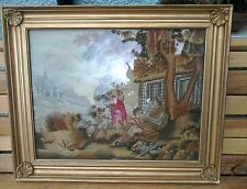 Rare 19th Century Embroidered/Needlework Picture Wall Hanging In Gilded Frame