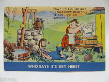 Postcard - Humor / Comic - Who Says It's Dry Here? Drunk Alcohol Postmarked 1948