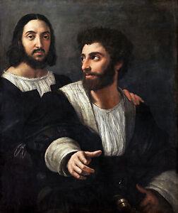 Raphael - Self-portrait with a friend, Museum Art Poster, Canvas Print