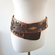 Lost & Found VINTAGE WIDE LEATHER BELT BY Linda Medium M Quirky Blogger 80s NOS