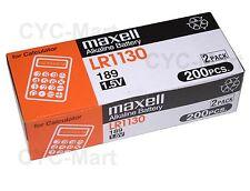 New Zero Hg Maxell LR1130 Batteries 200pcs AG10 189 Brand New FREE POST 12/2019