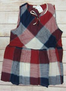 Suzanne Betro Weekend Women's Plaid Peplum Tunic Top XL Red/Navy  NWT
