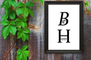 Motivational print,10,poster,inspirational quote,Be happy, black text