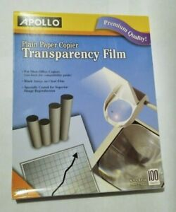 UNOPENED Apollo Plain Paper Copier Transparency Film 100 Sheets