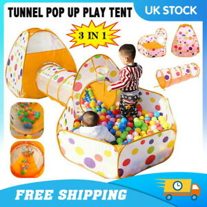 3 In 1 Children Kids Baby Play Tent Tunnel Ball Pit Toys Cubby Playhouse Pop Up