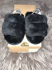 Toddler Fluff Ugg Slides Black