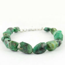 160.00 CTS NATURAL RARE UNTREATED RICH GREEN EMERALD FACETED BEADS BRACELET