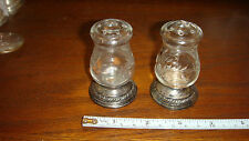 Newport Sterling Silver Etched Crystal Salt and Pepper Shaker Set of  2