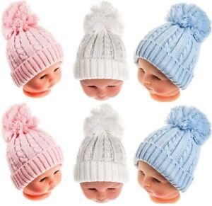 Baby Beanie Hat Pom Pom Bobble Double Knitted Winter Warm Boy Girl Newborn-24M