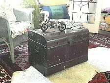 Vintage Metal Tin Steamer Trunk Coffee Table, Strong Box, Retro Treasure Chest