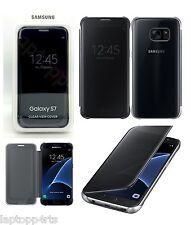 Véritable Samsung Galaxy S7 clear view flip wallet housse sans fil QI noir