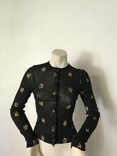 Kookai Thin Cardigan Size 1/ 6-8. Black With Flowers