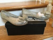 N.Y.L.A. womens shoes clear jellies with silver glitter flats