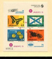 Uruguay 1978 Butterfly Aviation Mi BL 40 Imperf  Souvenir Sheet Specimen