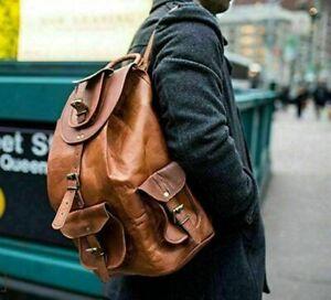 """Handmade 22"""" Large Backpack Genuine Vintage Leather Laptop Rucksack Travel Bag"""