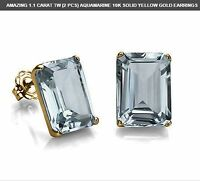 1.1 CARAT AQUAMARINE 10K SOLID YELLOW GOLD EARRINGS  EARTH MINED MARCH BIRHDAY