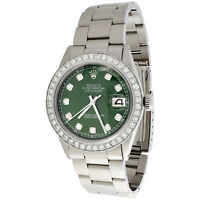 Mens Rolex 36mm DateJust 16014 Diamond Watch Oyster Band Dark Green Dial 2 CT.