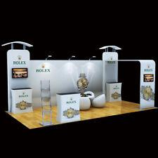 20ft Trade Show Booth Pop Up Display Exhibition Kits Podium Tv Bracket Lights