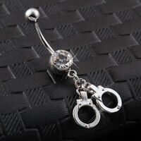 Body Piercing Surgical Steel Belly Bars Navel Button Ring Silver Handcuffs