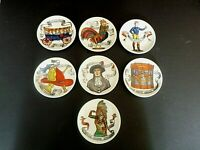 Vintage MCM FORNASETTI ITALY SET OF 7 COASTERS AMERICAN ANTIQUES MOTIF