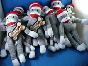 WHOLESALE LOT OF 12 GREY SOCK MONKEYS FOR DOGS CATS PET TOY squeak squeek doll
