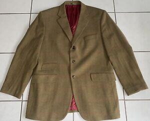 Gant Sakko Gr. 54 Sweatshirt Grün Business Herren Anzug Luxus Wolle Tweed
