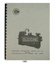 """Clausing Colchester 15"""" Lathe 15x30 15x48 Gap Bed Instruct & Parts Manual #1362"""