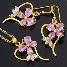 Brass Set Pink Sapphire Pear Cut Necklace Pendant Earrings(Y)