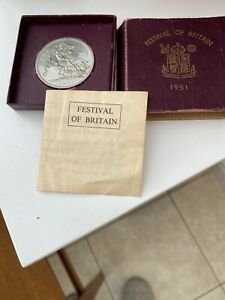 1951 Festival of Britain George VI Five Shilling Coin with Burgundy Box