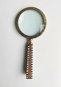 """Vintage style 4"""" magnifying glass office decor collectible with ceramic handle"""