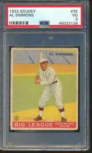 1933 Goudey #35 Al Simmons HOF  PSA 3  VG 61002