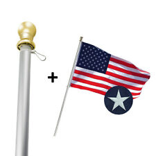 6ft Aluminum Sliver Flagpole Gold Ball 3X5 American Flags Usa seller