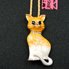 New Yellow Enamel Delicate Cat Kitten Crystal Betsey Johnson Pendant Necklace