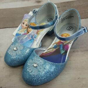 Toddler Girls Disney Frozen Sparkle Glitter Ballet Flats Shoes Costume  6, 9, 10