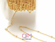 100 Feet Gold Filled Beaded Chain, Satellite Curb Chain, Dotted Chain
