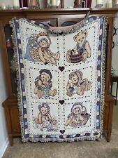 1993 Priscilla Hillman Woven Blanket Throw Teddy Bear to Cherish