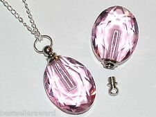 1 Pink Glass Oval pendant cremation urn ashes perfume bottle Screw cap Necklace
