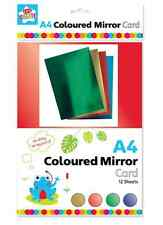 12 x A4 SHEETS 300gsm METALLIC COLOURED MIRROR CARD RED GOLD GREEN BLUE PVI/2ank
