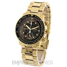 * NUEVO * SEIKO FLIGHTMASTER ALARMA PILOTO ORO 200 M Reloj SNA414P1-RRP £ 350