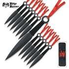 12PC Ninja Hunting KNIVES Tactical Combat Naruto Kunai Throwing Knife Set + Case