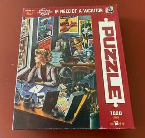 VINTAGE SATURDAY EVENING POST 1000 PC PUZZLE IN NEED OF A VACATION FREE SHIP USA