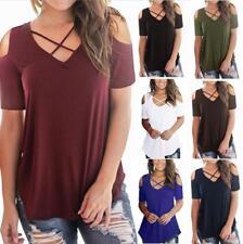 WHOLESALE BULK LOT 10 MIXED COLOUR SIZE Off Shoulder Basic T-Shirt Blouse T168