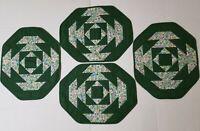 Vtg Handmade Set of 4 Quilt patchwork Table place mats Green base Multi color