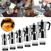 50-600ML Aluminum Moka Espresso Coffee Maker Percolator Stove Top Pot 1-12 Cups