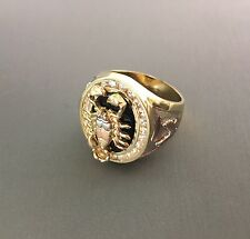 14K tricolor gold Scorpion Onyx Ring EJMR34412